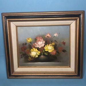 Vintage flowers oil on canvas painting